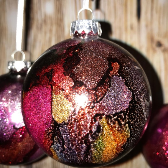 Alcohol Ink Christmas Ornaments.Alcohol Ink Glitter Glass Christmas Ornament Bulb Handmade Beautiful Colors Made In Us Purples And Reds Stained Glass Look