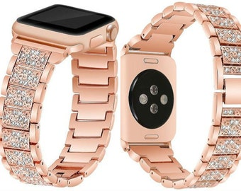 5815f965222 Apple Watch Band Series 1 2 3 4 Rose Gold Rhinestone Crystal Smart Watch  Stainless Steel Link Strap iWatch 38mm 40mm 42mm 44mm