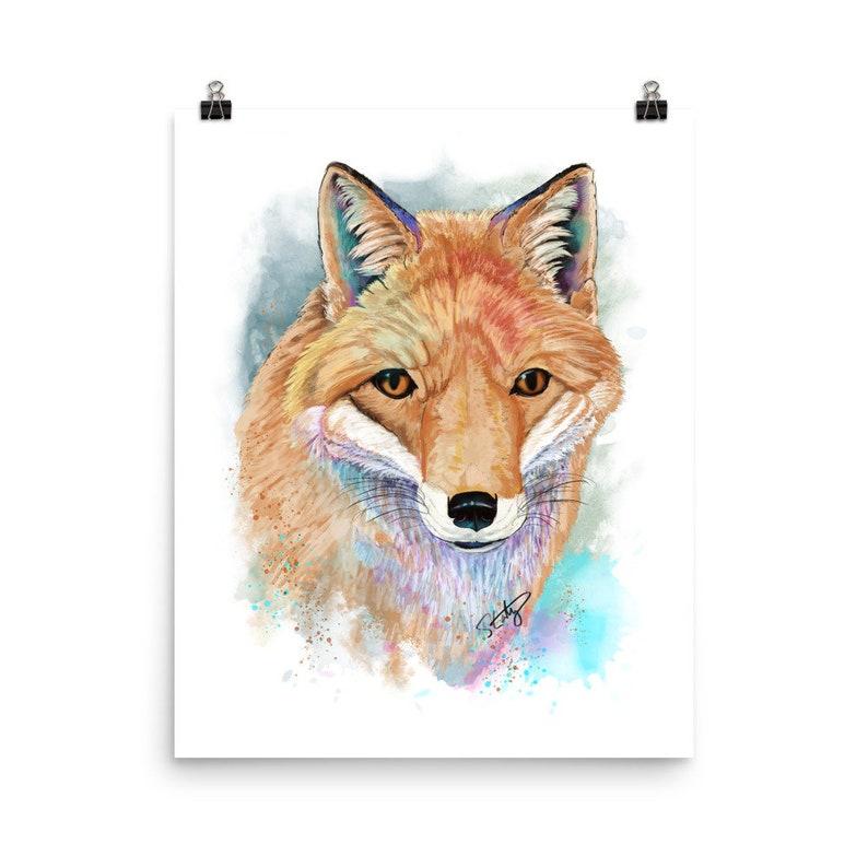 Red Fox Splash Watercolor Art Print