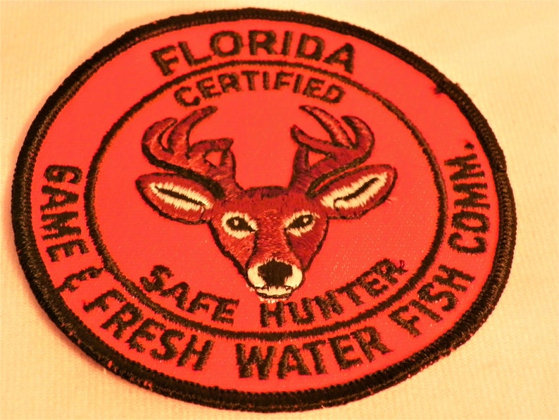 Patch Florida Certified Safe Hunter Game 7 Fresh Water Fish Comm  Deer Buck