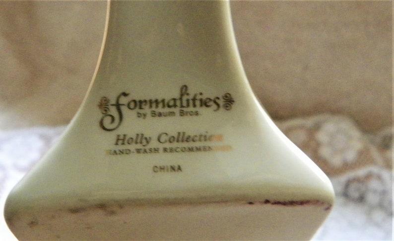 Formalities by Baum Bros Porcelain Cake Server Holly Berry Design with Gold Trim Christmas