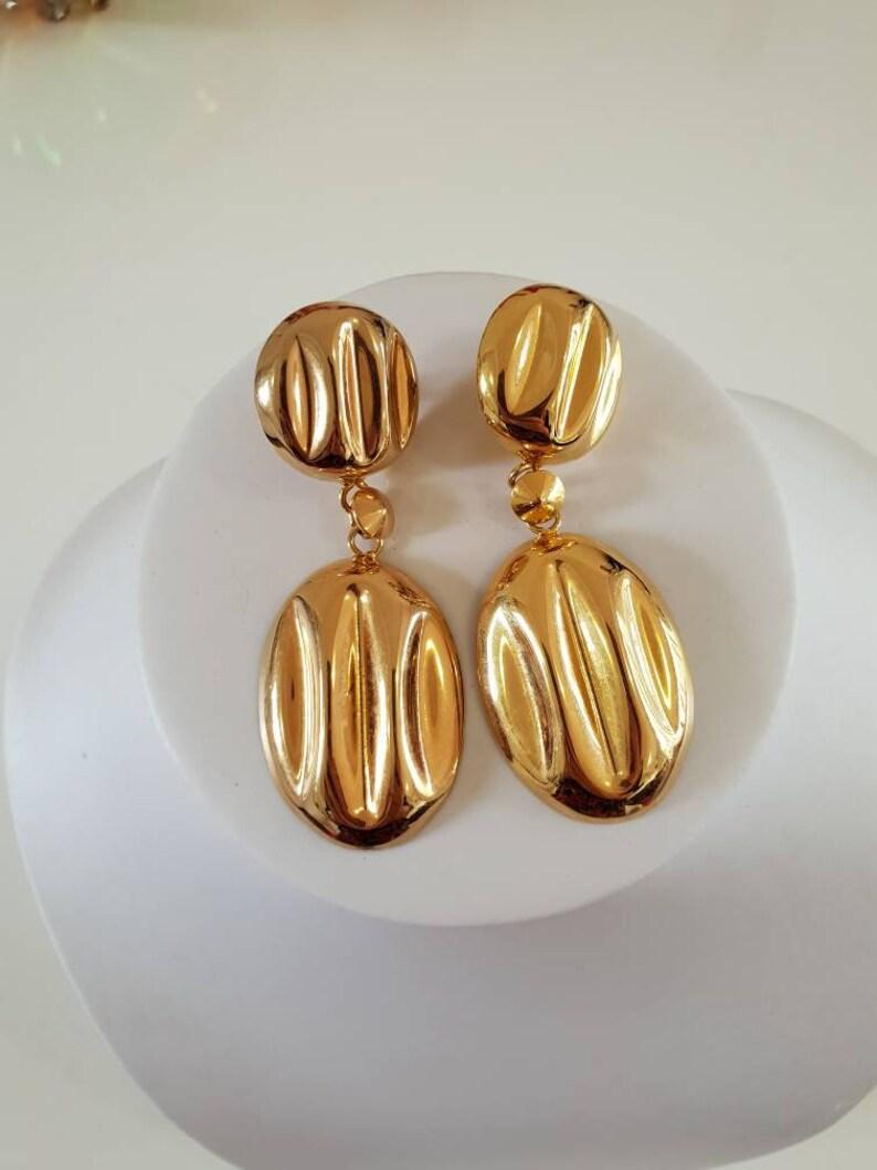 Earings 1980/'s goldtone, pierced