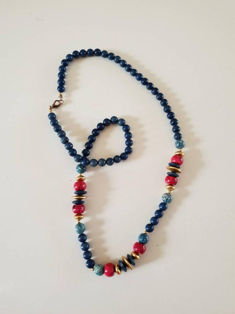 pink Beads 1980/'s ceramicgoldtone Blue aqua and gold .