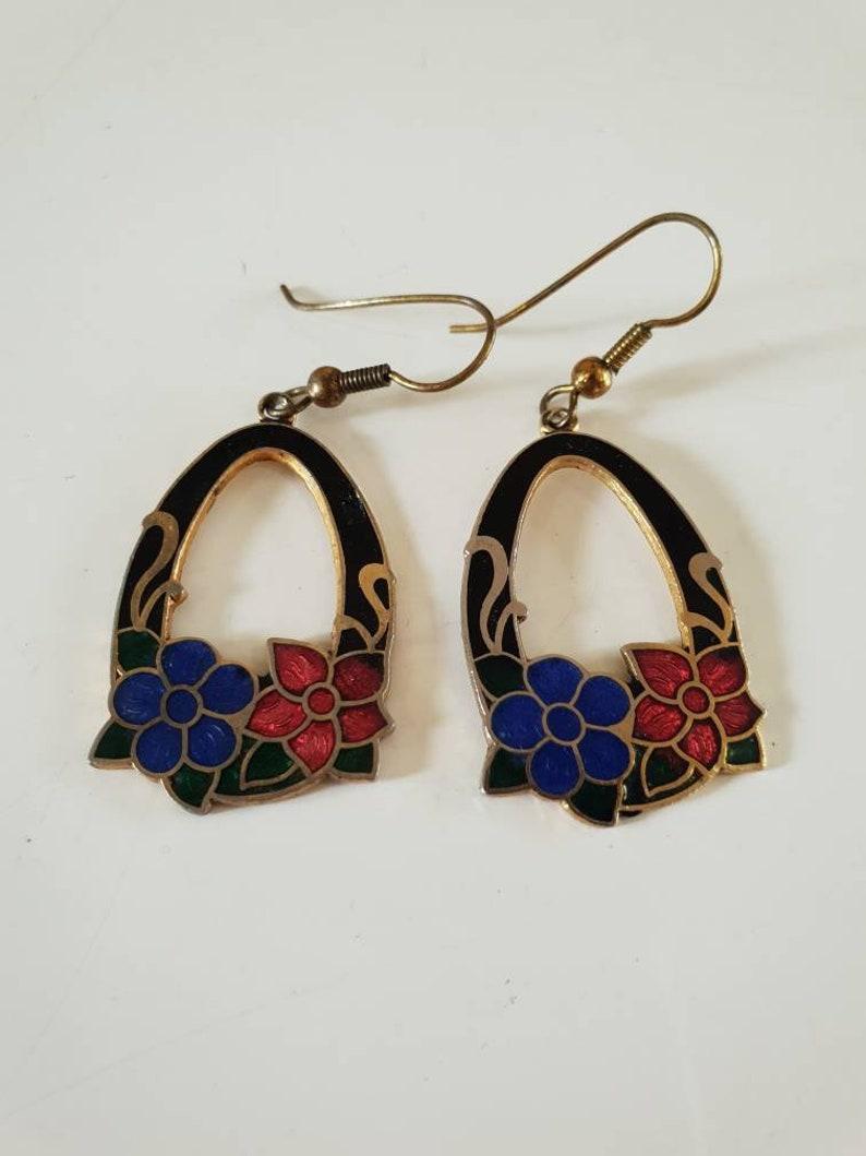 Pierced. redblue flowers Cloisonne enamel earings 1980/'s