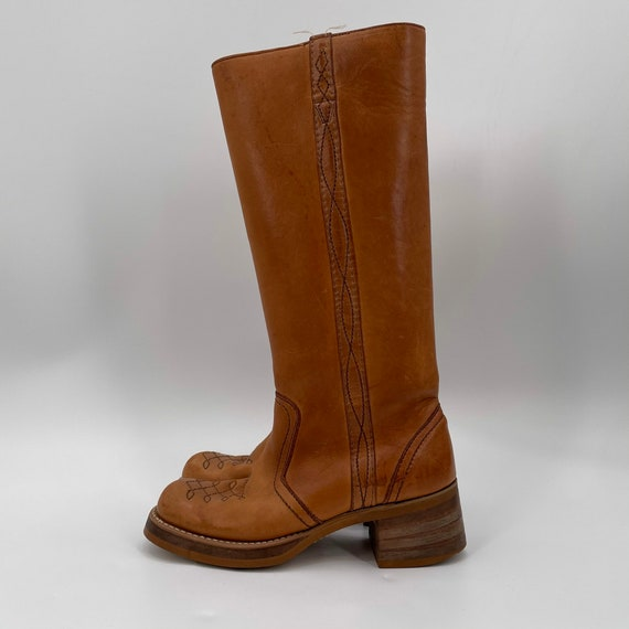Vintage 70s Tan Square Toe Leather Campus Boots  … - image 4