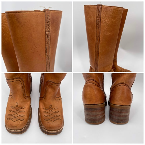 Vintage 70s Tan Square Toe Leather Campus Boots  … - image 9