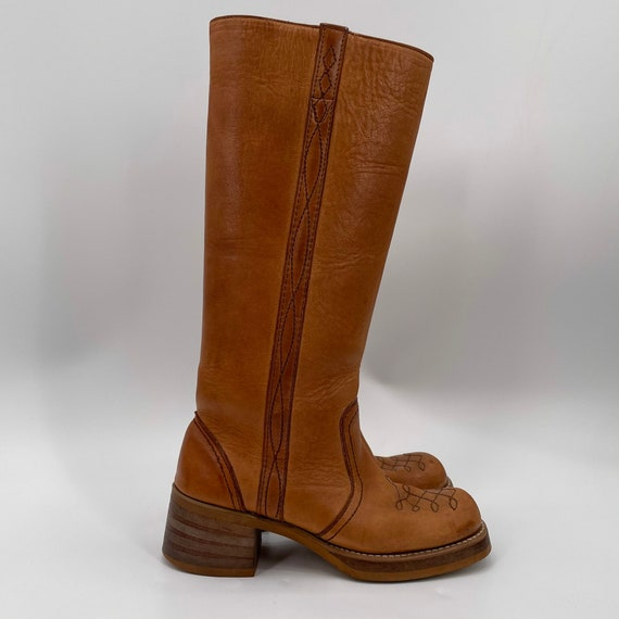 Vintage 70s Tan Square Toe Leather Campus Boots  … - image 2