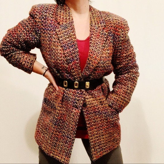 Vintage 80s Oversized Multicolored Tweed Blazer
