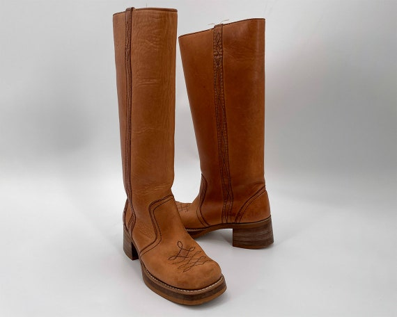 Vintage 70s Tan Square Toe Leather Campus Boots  … - image 1