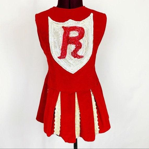 Vintage Red Velvet Sequin Cheerleader Costume Top