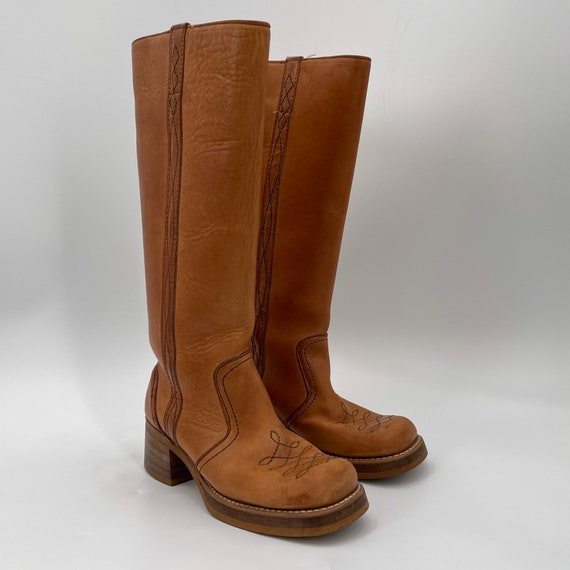 Vintage 70s Tan Square Toe Leather Campus Boots  … - image 6