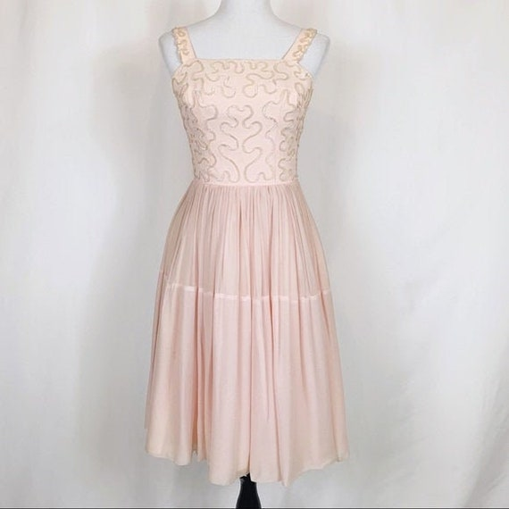 Vintage 50s Sequin Chiffon Fit Flare Pleated Dress