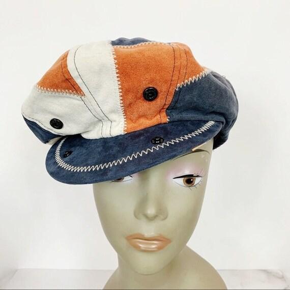 Vintage 70s Patchwork Suede Leather Newsboy Hat
