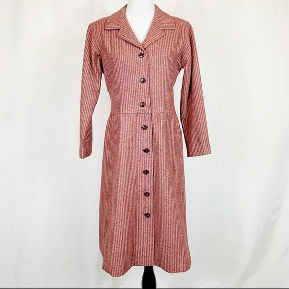Vintage Pink Wool Striped Princess Coat Large