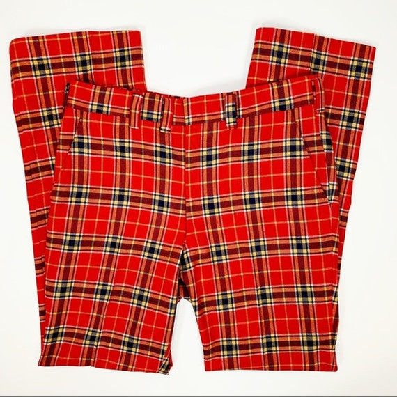 Vintage Men's Red Check Plaid Wool Flare Trousers
