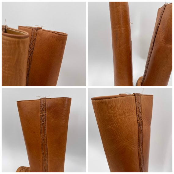 Vintage 70s Tan Square Toe Leather Campus Boots  … - image 10