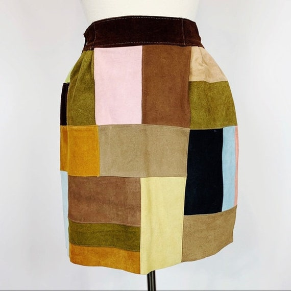 Vintage 70s Boho Leather Patchwork Miniskirt XS/S