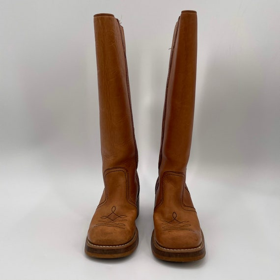 Vintage 70s Tan Square Toe Leather Campus Boots  … - image 5