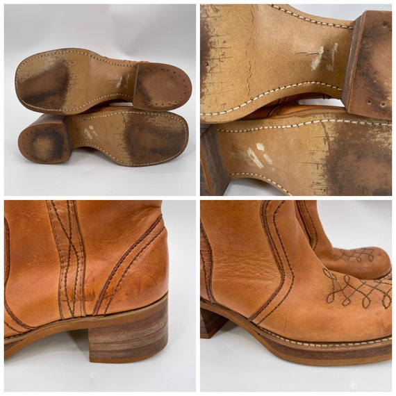 Vintage 70s Tan Square Toe Leather Campus Boots  … - image 8