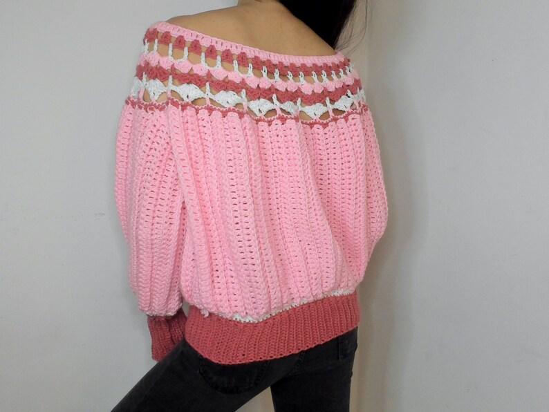 Vintage inspired crochet sweater handmade