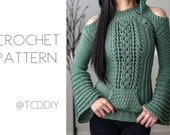 Crochet Cable Stitch Cold Shoulder Bell Sleeve Hoodie PDF Pattern