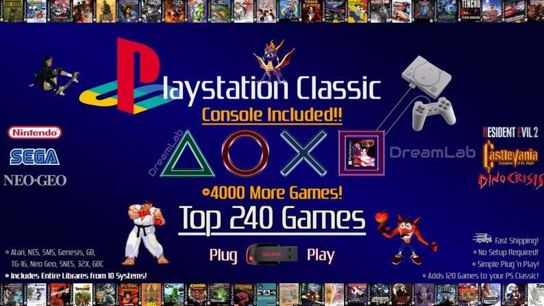 Sony PlayStation Classic with 240 PS1 Games + 4000 Games From Atari, NES,  SNES, SEGA, Neo Geo, Game Boy etc