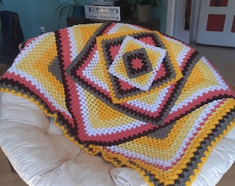 Blanket, bedspread, couch cover, quilt, knit, wool, kaleidoscope, rainbow, decoration, living room, LaineDeRien