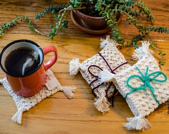 Coasters, Knitting, Craft, Drink, Kitchen, Dining Room, Decoration, LaineDeRien, White, Cream