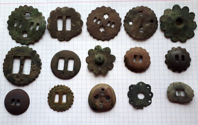 SET of 15 Ancient Brass Buttons 18-19th century Archaeological Finds Original patina