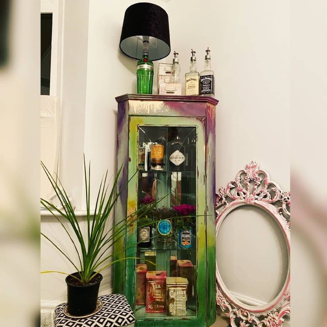 Vintage 1970's drinking cabinet upcycled to jungle theme storage cabinet or display case.