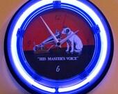 Retro Style RCA Victor Nipper Dog Neon Wall Clock -New Clock w Tube Radio Style