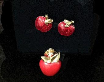 97e24e5eea30e Avon apple earrings | Etsy