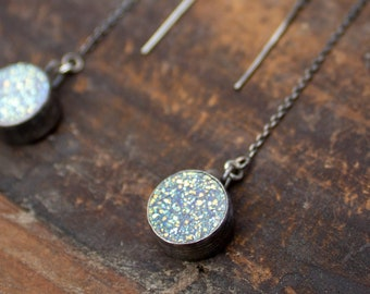 Round Druzy Threader Earrings