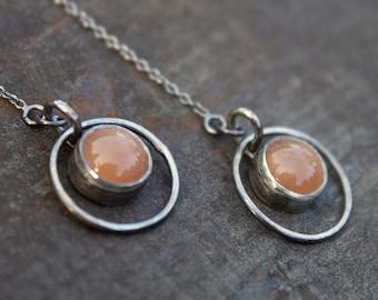 Sunstone Threader Earrings