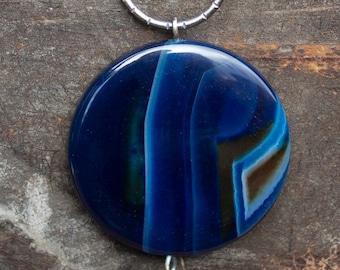 Blue & Brown Agate Pendant Necklace