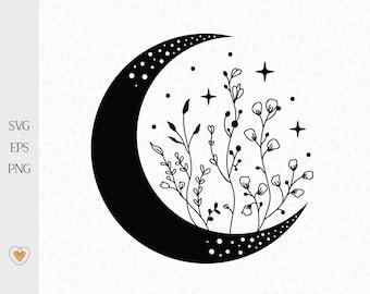 Moon svg, Crescent moon svg, Floral moon clipart, Celestial svg, Flower moon png