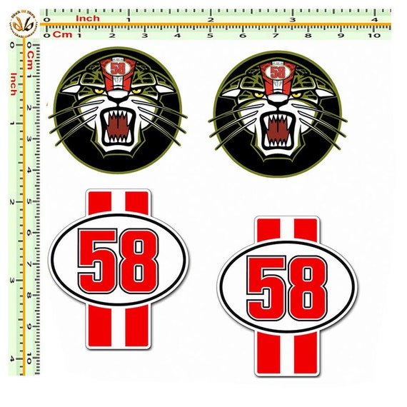 Marco Simoncelli Number 58 Helmet Decals pair
