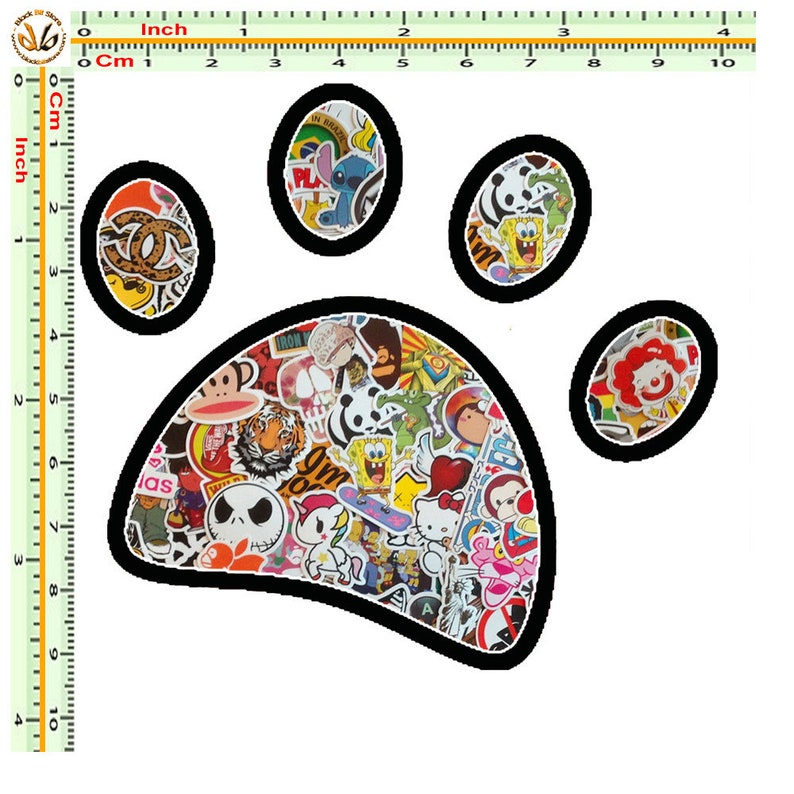 Sticker Bomb Sticker dog imprint printed on PVC cut out quantity 1 piece measurements as from image