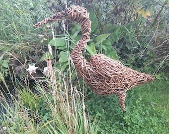 Willow Wicker Heron Garden Pond Sculpture