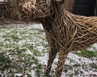Willow Wicker Dog Sculpture - Pet Garden Animal Sculpture