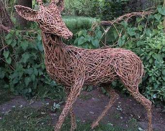 Life sized willow wicker deer sculpture for the garden