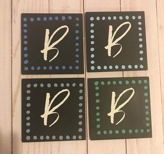 Monogram Coasters-Set of 4/ Customized set of 4 Monogram Coasters for Housewarming Gift or Wedding G