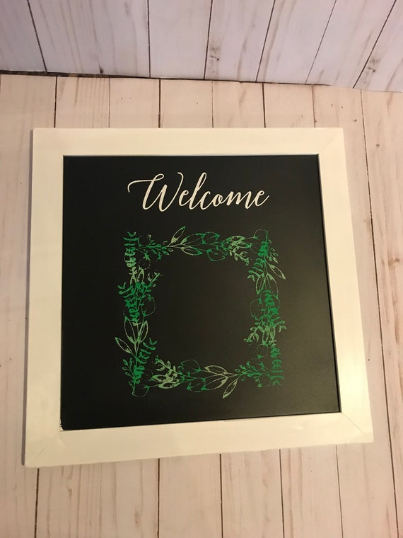 Welcome Wreath Wall Hanging For Home Decor/ Eucalyptus Wreath Home Decor Frame/ Square White Frame/