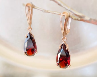 Red Garnet Gemstone Earrings with Rose Flower Charms
