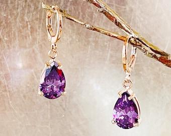 Purple Glass Round Gold Fleck Drop Earring Purple Earrings