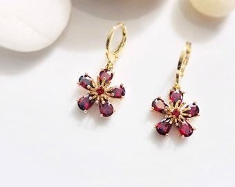 Garnet flower dangle earrings in 14k gold, red garnet flower drop earrings, January birthstone earrings, gift for mom, gift for her