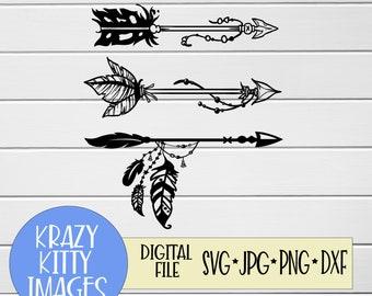 Feather arrow svg | Etsy