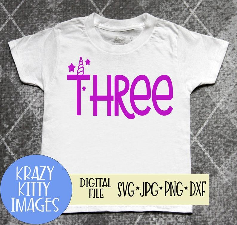 digital download Girls Unicorn 3rd Birthday Svg Three unicorn svg eps jpg Girls Third Birthday svg girls birthday unicorn png dxf