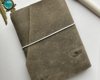 Light grey a6 size leather notebook cover