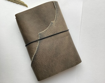 Trifold leather grey a6 size notebook